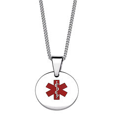Personalized Medical ID Circle Pendant Necklace