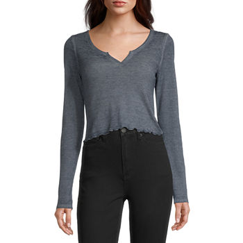 Flirtitude-Juniors Womens Scoop Neck Long Sleeve Thermal Top