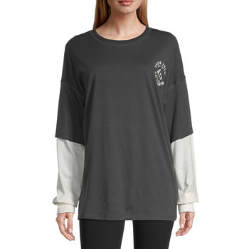Flirtitude Juniors Womens Round Neck Long Sleeve T-Shirt