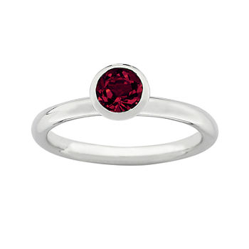 "Personally Stackable ""July"" Red Crystal Sterling Silver High Profile Ring"