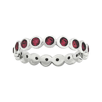 "Personally Stackable ""July"" Red Crystal Sterling Silver Eternity Ring"