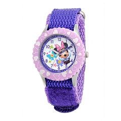Disney Minnie Mouse Kids Time Teacher Purple Strap Watch
