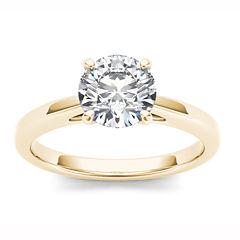 Womens 1 CT. T.W. Round White Diamond 14K Gold Solitaire Ring