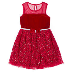 Little Lass Short Sleeve A-Line Dress - Baby Girls