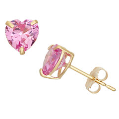 Heart Pink Sapphire 10K Gold Stud Earrings