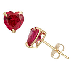 Heart Red Ruby 10K Gold Stud Earrings
