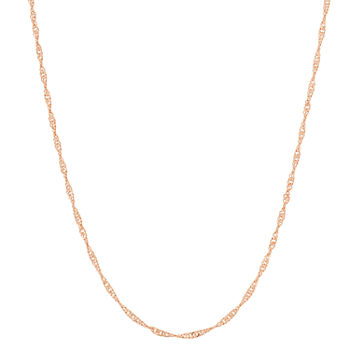 14K Gold Over Silver 22 Inch Semisolid Wheat Chain Necklace