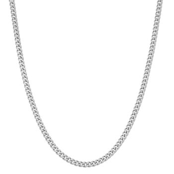 Sterling Silver 22 Inch Semisolid Curb Chain Necklace