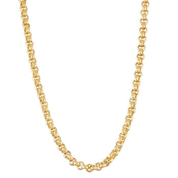 14K Gold Over Silver 20 Inch Semisolid Curb Chain Necklace