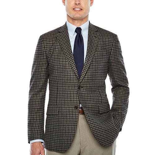 Stafford Merino Wool Sportcoat Gray Brown Check - Classic