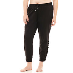Flirtitude Lace Up Fleece Jogger Pants - Juniors Plus