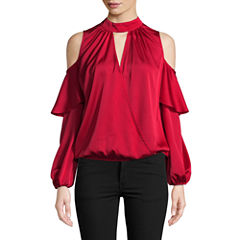 Bisou Bisou Long Sleeve Ruffle Surplice Top
