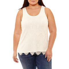 Boutique + Knit Lace Tank Top-Plus