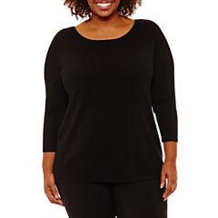 Worthington 3/4 Sleeve Boat Neck Pullover Sweater-Plus