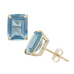 Emerald Blue Aquamarine 10K Gold Stud Earrings