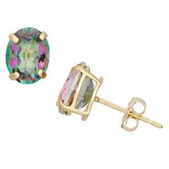 Round Blue Mystic Fire Topaz 10K Gold Stud Earrings