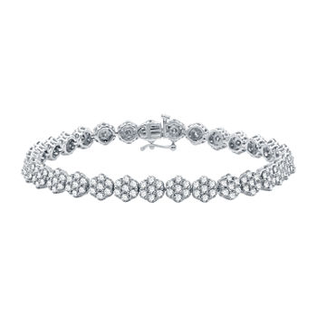 Diamond Blossom Genuine 7 CT. T.W. Diamond 10K White Gold Flower 7.5 Inch Tennis Bracelet