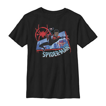 Marvel Spiderverse Miles Kick Above City Little & Big Boys Slim Crew Neck Marvel Short Sleeve Graphic T-Shirt