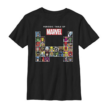 Marvel Periodic Table Of Heroes & Villains Retro Little & Big Boys Slim Crew Neck Marvel Short Sleeve Graphic T-Shirt