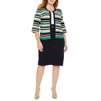 Studio 1-Plus 3/4 Sleeve Striped Jacket Dress