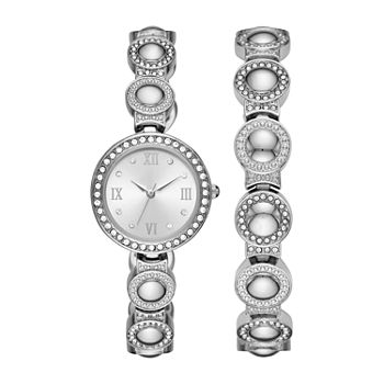 Geneva Womens Crystal Accent Silver Tone 2-pc. Watch Boxed Set-Fmdjset038