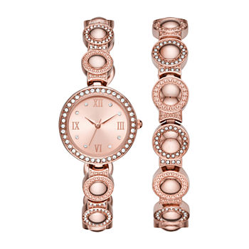 Geneva Womens Crystal Accent Rose Goldtone 2-pc. Watch Boxed Set-Fmdjset039
