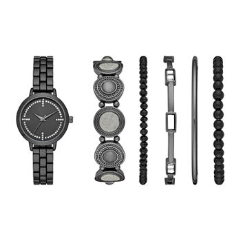 Mixit Womens Crystal Accent Gray 6-pc. Watch Boxed Set-Fmdjset305