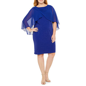 Scarlett 3/4 Sleeve Embellished Cape Sheath Dress - Plus