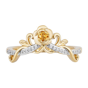 Enchanted Disney Fine Jewelry Womens Diamond Accent Genuine Yellow Citrine 10K Gold Crown Beauty and the Beast Cocktail Ring