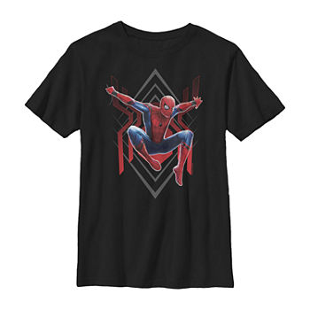 Spider-Man Far From Home Geometric Jumping Portrait Little & Big Boys Crew Neck Marvel Slim Short Sleeve T-Shirt