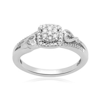 Hallmark Diamonds 1/7 CT. T.W. Genuine Diamond Double-Heart Sterling Silver Ring