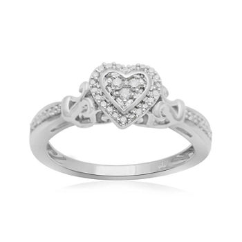 Hallmark Diamonds 1/7 CT. T.W. Genuine Diamond Heart Sterling Silver Ring