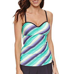 Free Country Stripe Tankini Swimsuit Top