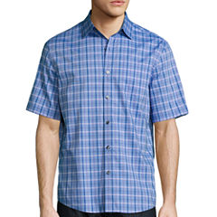 Claiborne Short Sleeve Checked Button-Front Shirt