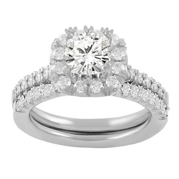Womens 1 3/8 CT. T.W. Genuine White Diamond 14K White Gold Bridal Set