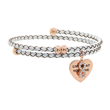 """Live What You Love"" Sparkle Allure You & Me Cubic Zirconia Brass Bracelet"