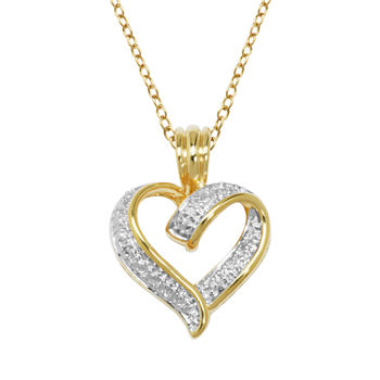 Sparkle Allure Diamond Accent 18K Gold Over Brass Cable Heart Pendant Necklace