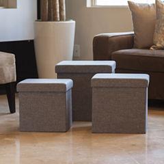 Danya B. Folding Storage Ottoman 3 Pc Set - Gray