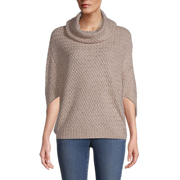 St. John's Bay Womens Cowl Neck 3/4 Sleeve Poncho Tall