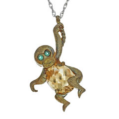 Lab-Created Citrine and Simulated Emerald Monkey Pendant Necklace