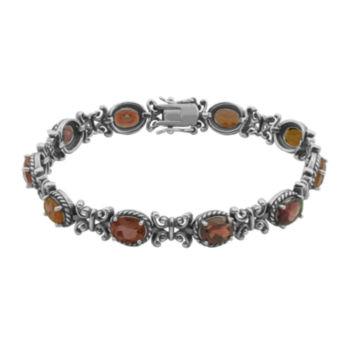 Fine Jewelry Genuine Garnet Oxidized Sterling Silver Tennis Bracelet 1xgJi