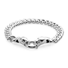 Made in Italy Sterling Silver Panther Head Curb Chain Bracelet