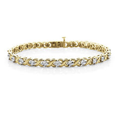 1/10 CT. T.W. Diamond 14K Yellow Gold Over Sterling Silver Bracelet