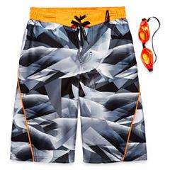 Zero Xposur Boys Geometry Camo Swim Trunks-Big Kid