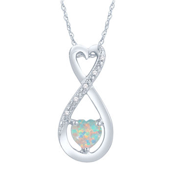 Opal heart fine necklaces pendants for jewelry watches jcpenney 7701 aloadofball Choice Image