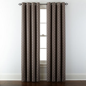 Liz Claiborne Quinn Lattice Energy Saving Light-Filtering Grommet-Top Single Curtain Panel