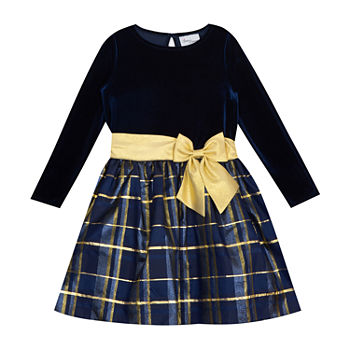 Sweet Charmers Little & Big Girls Long Sleeve Midi Party Dress