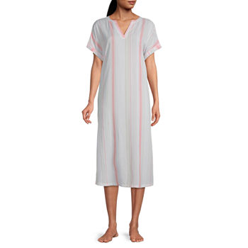 Ambrielle Womens Poplin Nightshirt Short Sleeve