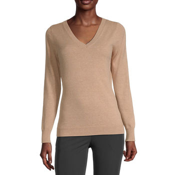 Worthington Long Sleeve V-Neck Sweater - Tall