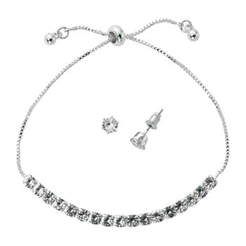 Sparkle Allure Holiday Light Up Box 2-pc. Cubic Zirconia Pure Silver Over Brass Rectangular Jewelry Set